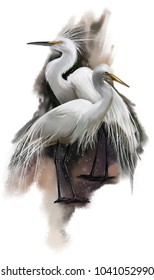 White Egret watercolor painting
