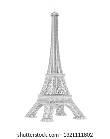 White Eiffel Tower Isolated. 3D rendering