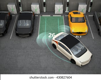 White electric car driving into parking lot with parking assist system. 3D rendering image.