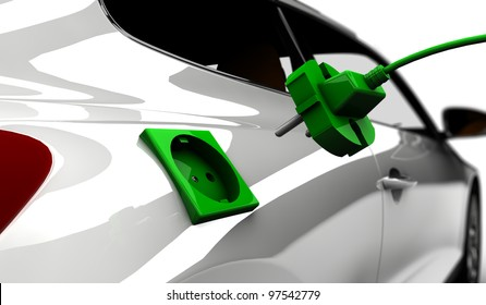 A white electric car refuel with power