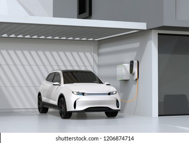 White electric powered SUV recharging in garage. 3D rendering image.