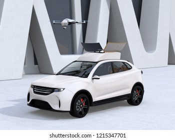 White electric SUV released drone for leisure entertainment. 3D rendering image.