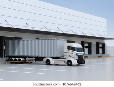 White electric truck parking in front of modern logistics center. 3D rendering image.