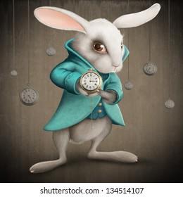 White Elegance rabbit indicates the clock - illustration