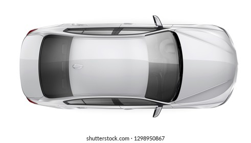 White elegant car - top view (3D render on white background)