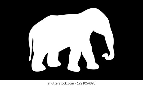 A white elephant drew with a white background
