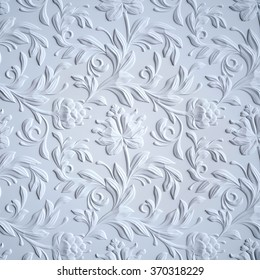 white embossed flowers pattern, textured  paper, 3d floral background