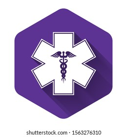 White Emergency star - medical symbol Caduceus snake with stick icon isolated with long shadow. Star of Life. Purple hexagon button