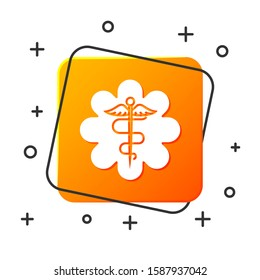 White Emergency star - medical symbol Caduceus snake with stick icon isolated on white background. Star of Life. Orange square button.