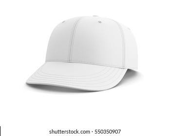 White empty baseball cap isolated on white background. 3D illustration.