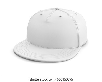 White empty baseball cap or snapback isolated on white background. 3D illustration.