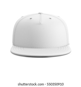 White empty baseball cap or snapback isolated on white background. Front view. 3D illustration.