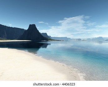 white empty beach and dark cliffs on a calm summer day