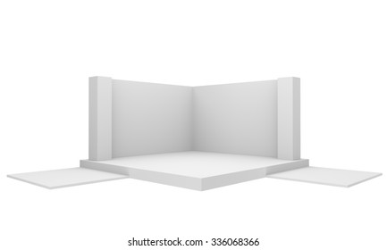 white empty blank booth or stall