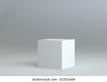 White empty box on gray background. Template for your content. 3d illustration