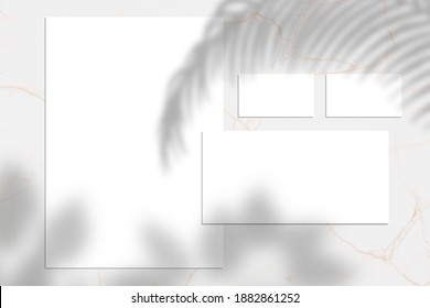 White empty business card, envelop and letterhead mock up, Shadow overlay, stationery mockup, add your design multiply effect