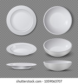 White empty ceramic plate in different points of view isolated illustration. Plate and dish clean for kitchen, porcelain dishware