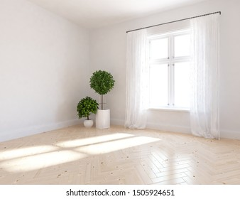 White empty comfortable room interior with decor on the wooden floor and large wall and white landscape in window with curtains. Background interior. Home nordic interior. 3D illustration