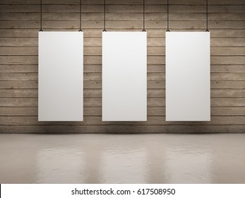 White empty exhibitor board hang in a room with beautiful light