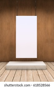 White empty exhibitor board hang in a room with beautiful light 3D illustration