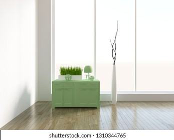 white empty interior with bedside table and vases. 3d illustration