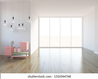 white empty interior with bedside table and other decor. 3d illustration
