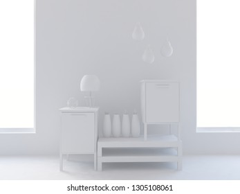 white empty interior with bedside tables and other decor. 3d illustration