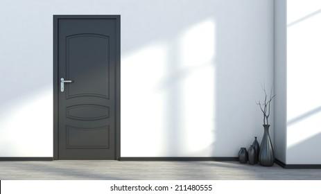 white empty interior with a black door and vase