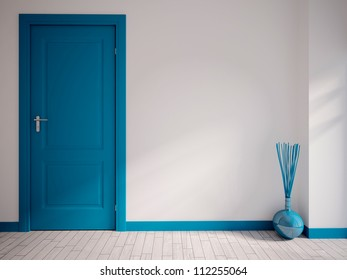 white empty interior with a blue door and vase