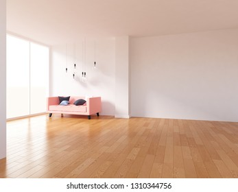white empty interior with a coral sofa. 3d illustration