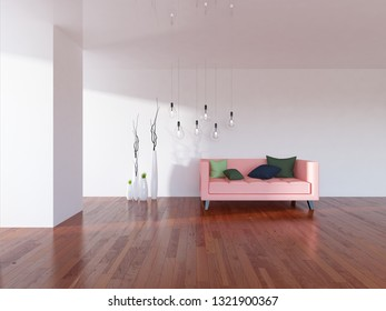 white empty interior with a coral sofa and vases. 3d illustration