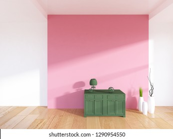 white empty interior with a coral wall and a green dresser. 3d illustration