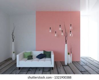 white empty interior with a coral wall and white sofa and vases. 3d illustration