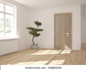 white empty interior design of living room with modern door.3D illustration