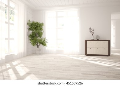 white empty interior design with shelf and flower. Scandinavian style. 3D illustration