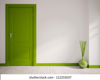 white empty interior with a green door and vase