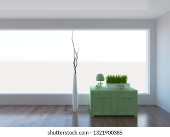 white empty interior with a green dresser and vase. 3d illustration
