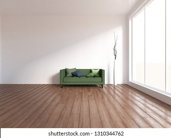 white empty interior with a green sofa and vases. 3d illustration