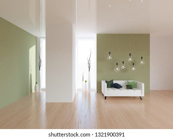 white empty interior with green walls and white sofa. 3d illustration