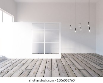 white empty interior with hanging bulbs. 3d illustration