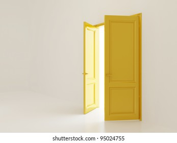 White empty interior with open golden doors and outer light