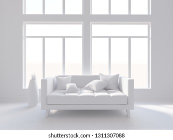 white empty interior with a sofa. 3d illustration