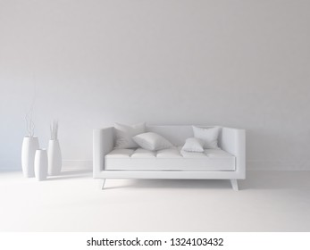 white empty interior with a sofa and vases. 3d illustration
