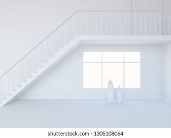 white empty interior with stairs and vases. 3d illustration