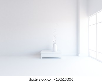 white empty interior with a vase. 3d illustration