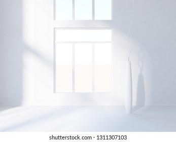white empty interior with vases. 3d illustration