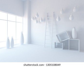 white empty interior with vases and hanging bulbs. 3d illustration