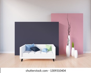 white empty interior with violet and  coral wall, white sofa and vases. 3d illustration
