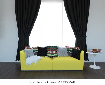 white empty interior with a yellow sofa and dark curtains. 3d illustration