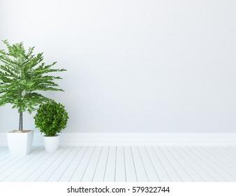White empty living room interior. Scandinavian interior design. 3D illustration